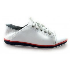 12-36209 Lancaster White and Silver Leather Lace-Up Casual Shoe