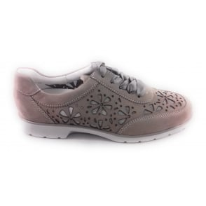 12-36365 Meran Taupe Nubuck Lace-Up Wide Fit Casual Shoe