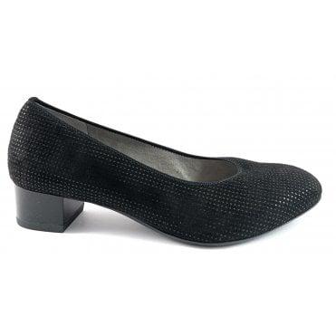 12-36801 Milano Black Print Microfibre Court Shoe