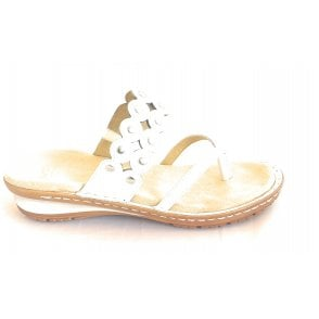 12-37204 Hawaii White Leather Toe-Post Sandal