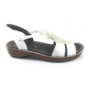 12-37270 Hawaii Silver Leather Open -Toe Casual Sandal