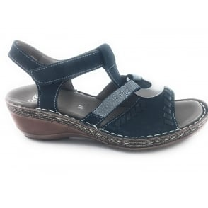 12-37274 Key-West Navy Leather Open-Toe Sandal
