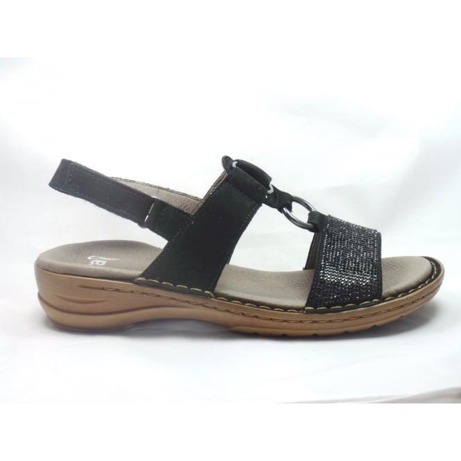 Ara 12-37291 Hawaii Black Nubuck Open-Toe Sandal