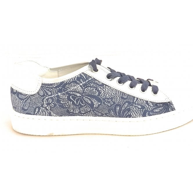 Ara 12-37455 Courtyard White, Silver and Blue Leather Lace-Up Casual Shoe