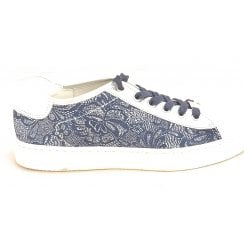 12-37455 Courtyard White, Silver and Blue Leather Lace-Up Casual Shoe