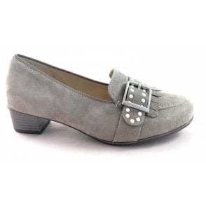 12-37685 Nancy Taupe Suede Heeled Mocassin