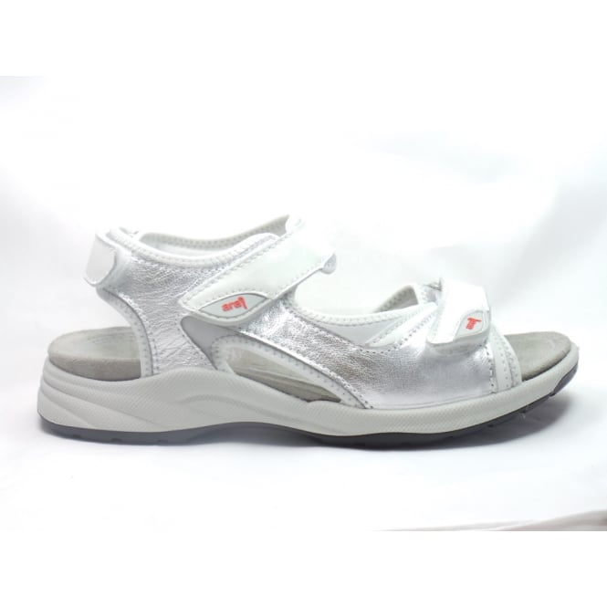 Ara 12-38353 La Gomera Silver, White and Grey Leather Open-Toe Sporty Sandal