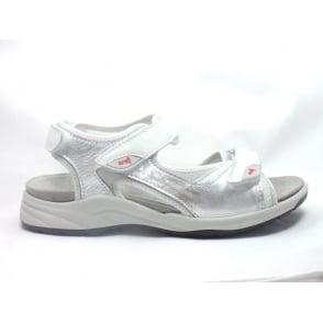 12-38353 La Gomera Silver, White and Grey Leather Open-Toe Sporty Sandal