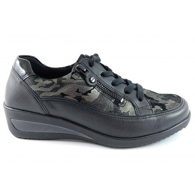 Ara 12-40615 Zurich Highsoft Black Army Print Casual Shoe