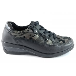 12-40615 Zurich Highsoft Black Army Print Casual Shoe