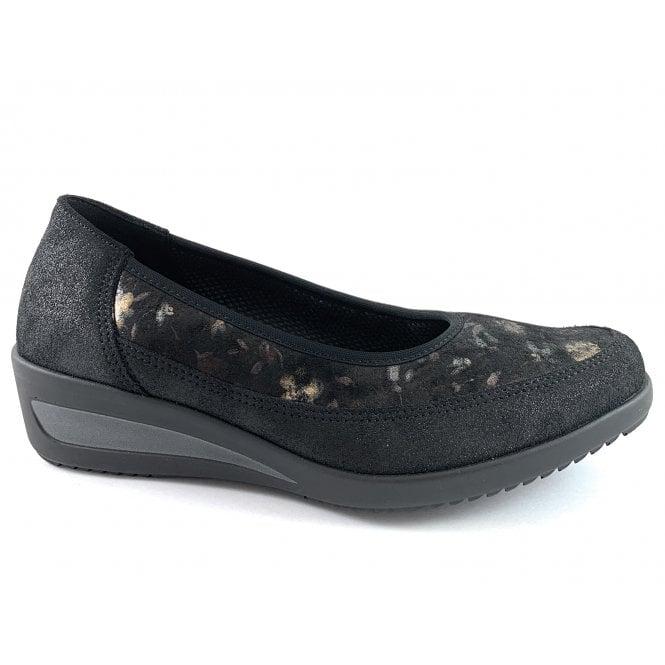 Ara 12-40617 Zurich Black Leather Slip On wedge Shoe