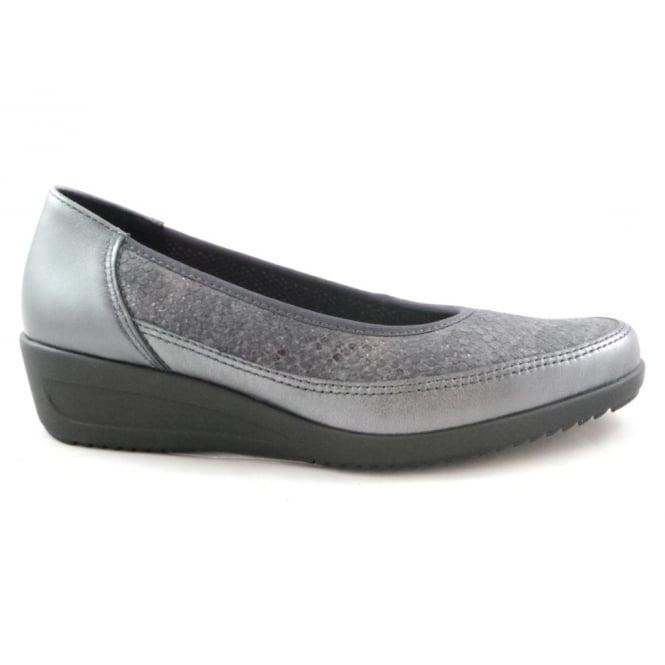 Ara 12-40641 Zurich Grey Metallic Print Leather Slip-On Wedge Shoe