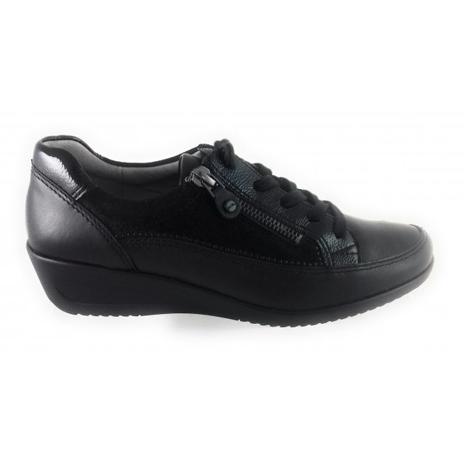 Ara 12-40654 Zurich Black Leather Lace-Up Casual Shoe