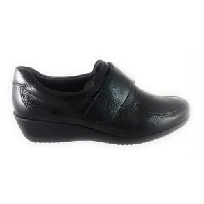 12-40658 Zurich Black Crinkle Patent Casual Shoe