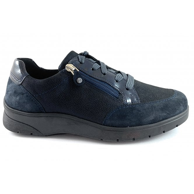 Ara 12-41050 Navy Leather Wide Fit Lace-Up Trainer