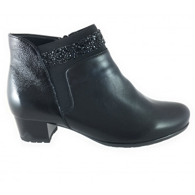 8bbd0197596f Ara 12-42007 Brugge Black Leather and Patent Wide Fit Ankle Boot - Ara from  size4footwear.com UK