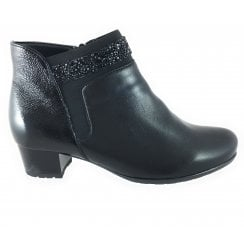 12-42007 Brugge Black Leather and Patent Wide Fit Ankle Boot