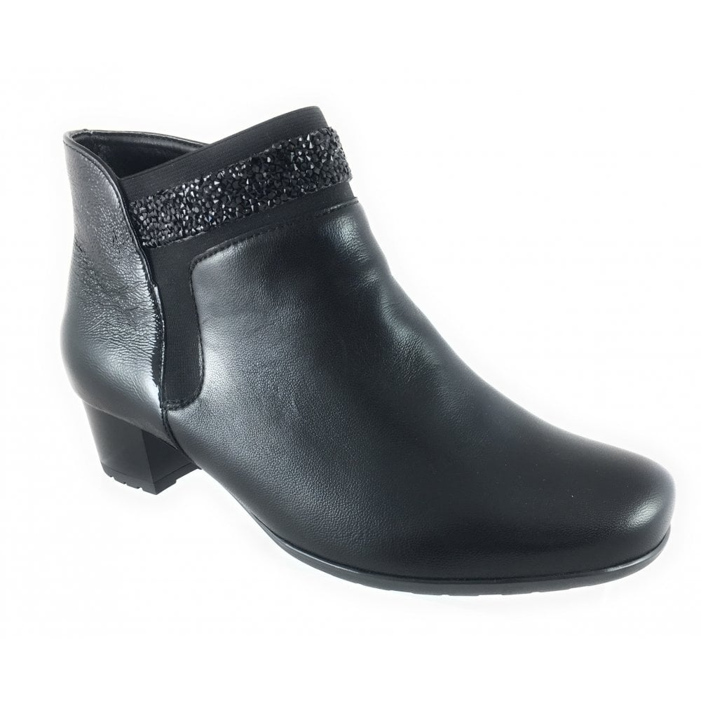 8440a509b5b9 ... Ara 12-42007 Brugge Black Leather and Patent Wide Fit Ankle Boot ...