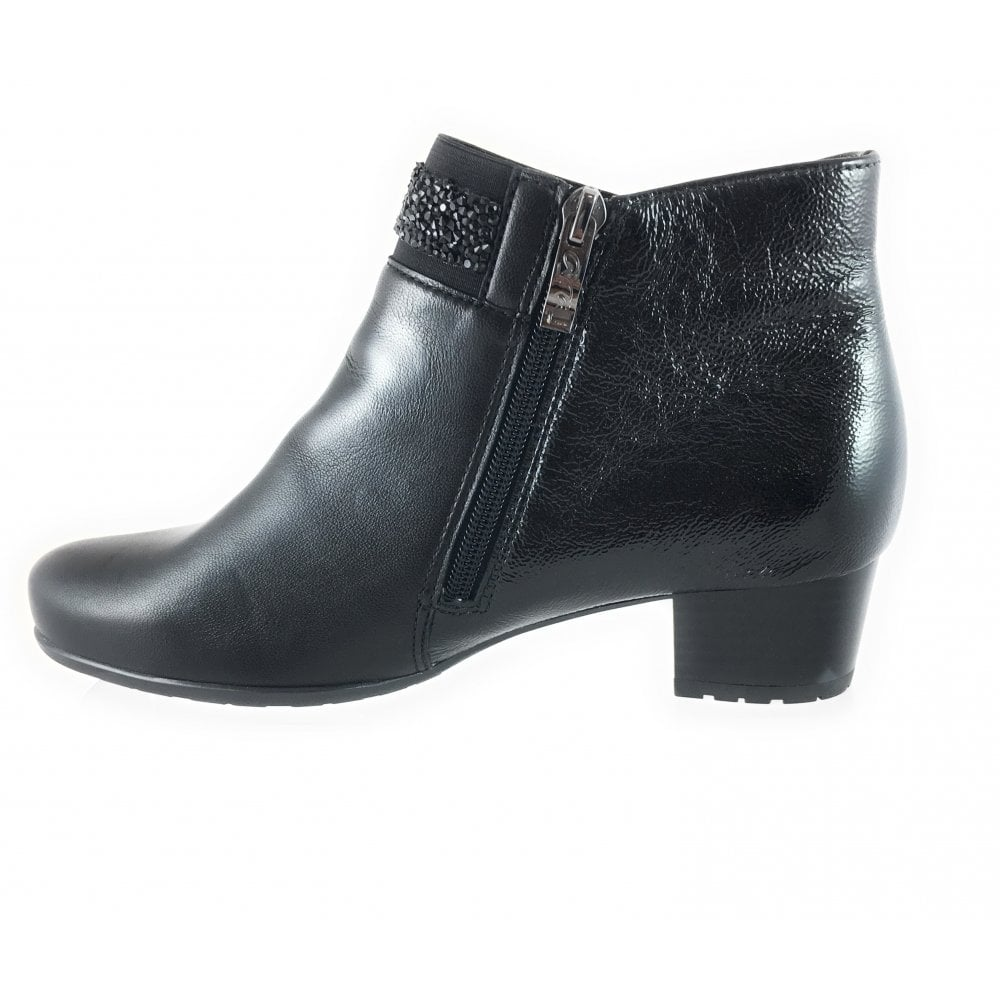 2f7d2fd08256 Ara 12-42007 Brugge Black Leather and Patent Wide Fit Ankle Boot ...