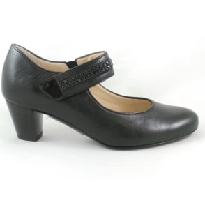 12-42081 Turin Black Leather Court Shoe