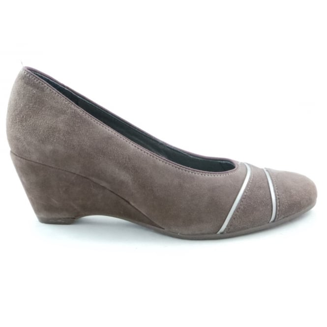 Ara 12-42082 Turin Light Brown Suede Wedge Wide Fit Shoe