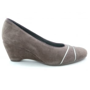 12-42082 Turin Light Brown Suede Wedge Wide Fit Shoe