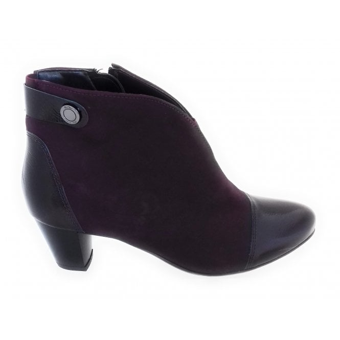 Ara 12-42086 Turin Burgundy Nubuck and Patent Ankle Boot