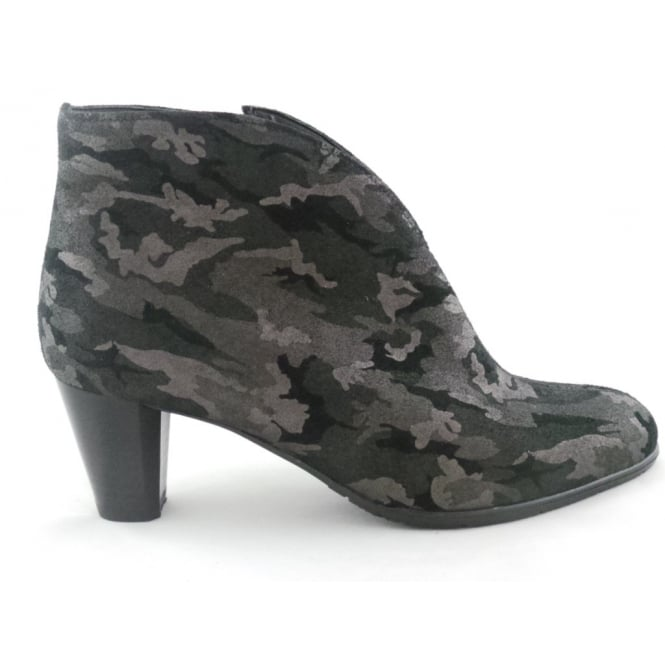 Ara 12-43408 Toulouse Black Camouflage Print Ankle Boot
