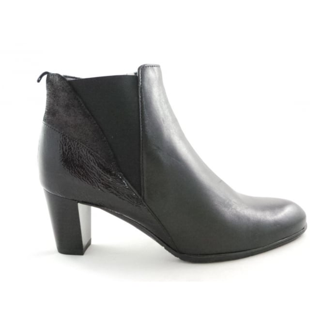 Ara 12-43449 Toulouse Black Leather and Patent Ankle Boot