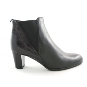 12-43449 Toulouse Black Leather and Patent Ankle Boot