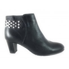 12-43463 Toulouse Black Leather Ankle Boot