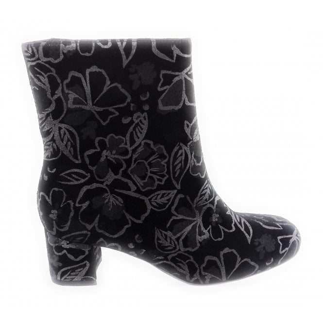 Ara 12-43536 Black and Floral Metallic Ankle Boot