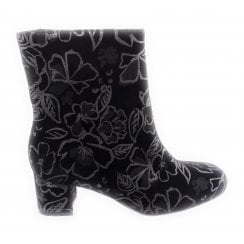 12-43536 Black and Floral Metallic Ankle Boot