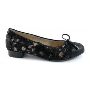 12-43721 Bari Highsoft Black Print Court Shoe