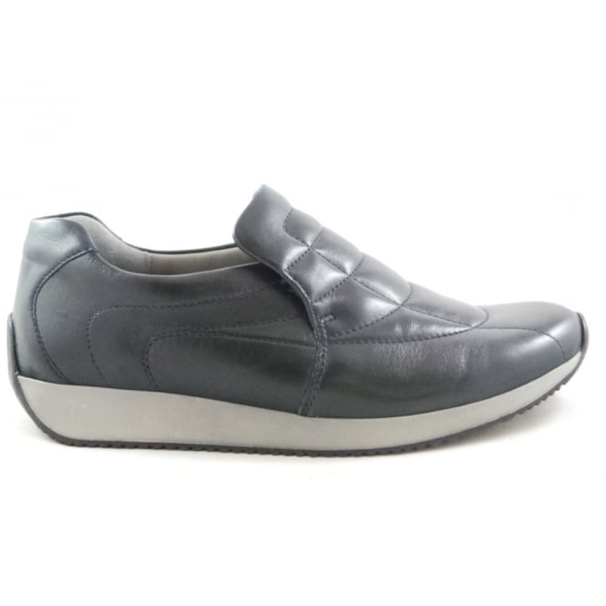 Ara 12-44029 Lissabon Navy Leather Slip-On Casual Shoe