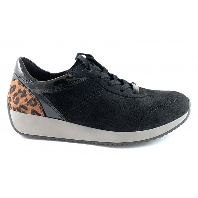 Ara 12-44050 Lissabon Fusion 4 Black Lace-Up Casual Shoe