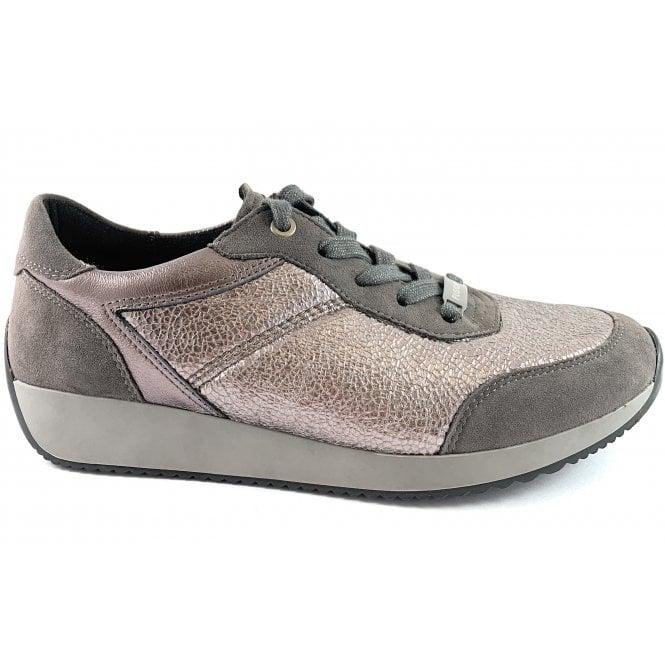 Ara 12-44050 Lissabon Fusion 4 Grey Metallic Lace-Up Casual Shoe