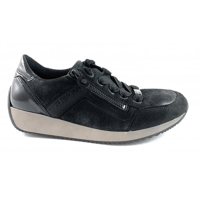 Ara 12-44060 Lissabon Fusion 4 Black Leather Trainer