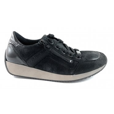 12-44060 Lissabon Fusion 4 Black Leather Trainer