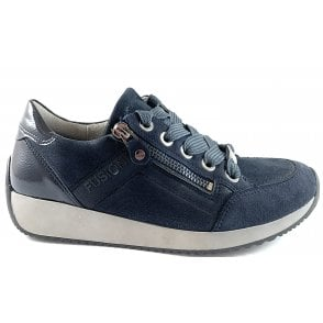 12-44060 Lissabon Fusion 4 Navy Leather Trainer