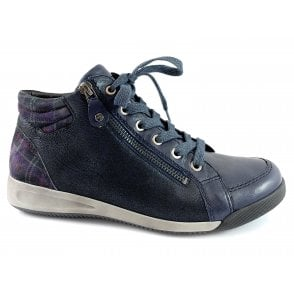 12-44407 Rom HighSoft Navy Leather Lace-Up Ankle Boot
