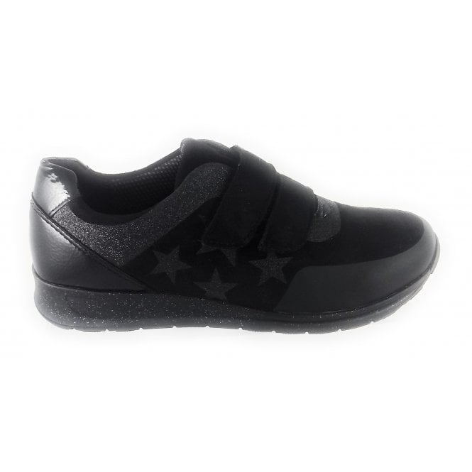 Ara 12-44581 Osaka Black Microfibre and Patent Velcro Trainer