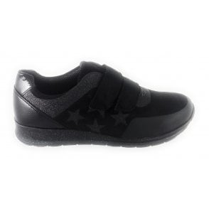 12-44581 Osaka Black Microfibre and Patent Velcro Trainer