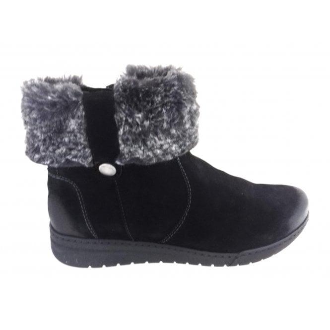 Ara 12-44933 Dakota Black Nubuck Ankle Boot