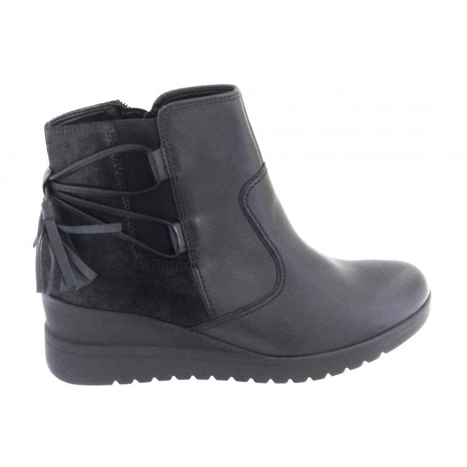 Ara 12-44967 Prag Black Leather Wedge Ankle Boot