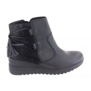 12-44967 Prag Black Leather Wedge Ankle Boot