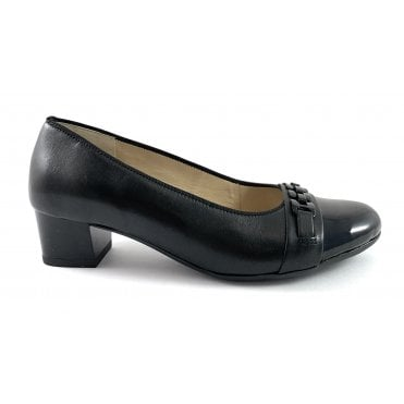 12-45880 Nizza Highsoft Black Leather Wide Fit Court Shoe
