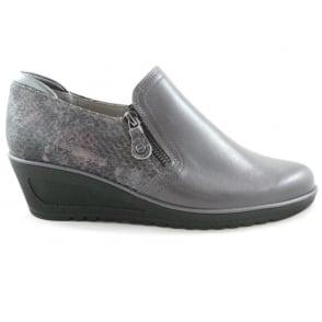12-46122 Hasselt-Tron Grey Leather Wedge Shoe
