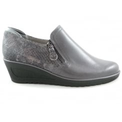 12-46122 Hasselt-Tron Grey Leather Wedge Shoe