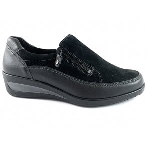 12-4613 Zurich Highsoft Black Leather and Suede Slip On Casual Shoe